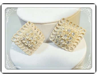 Carved Flower Earrings - Square Framed Vintage Clip-ons   E283a-030813010