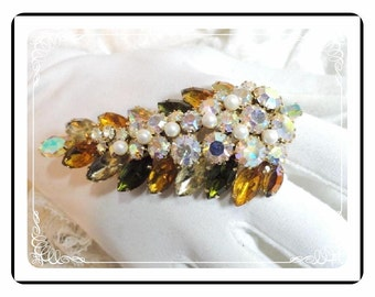 Alice Caviness Brooch - Gorgeous Colorful  Pearl Green & Yellow Brooch -  Pin-1844a-040810000