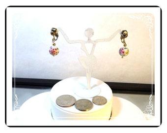 PorcelainDangling Earrings -  Flower Bead Dangling Vintage Clipon Earrings    E3300a-092212000