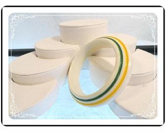 Vintage Lucite Bangle - Cream w Yellow & Green Stripes Bracelet  1026a-082012000
