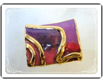 Lacombe Signed Brooch -  Vintage Abstract - Shades of Pink  - Pin-1446a-092312000