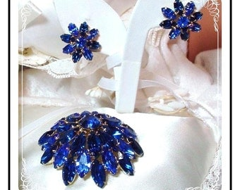 Juliana Brooch Set - Yummy Cobalt Blue Dome Demi  D&E  Demi-017a-042208045