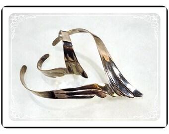 Necklace & Bracelet Set -Awesome Modernist Silver Tone Necklace Bracelet  Demi-1720a-121012000