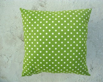"""Green Pillow Cover - White Polka dots Print on it - 18x18"""" - Gift for Mom - Ready to Ship - Color option"""