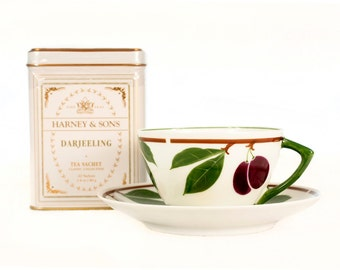 Vintage Fruit Tree Teacup and Tea Gift Set // Harney & Sons Tea // Tea Gift // Fine Bone China // Stone Fruit,