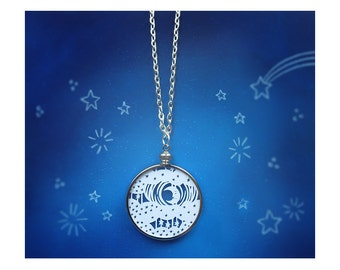 Starry Sky Necklace - Moon and Stars - Original Handcut Paper in Glass Pendants with Silver Chain