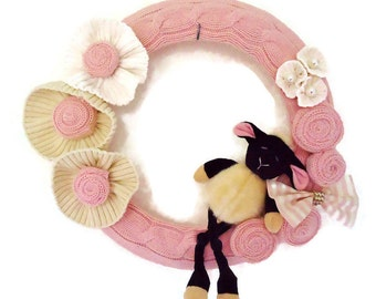 Baby Girl Wreath Lamb Wreath For Baby Girl Pink Knitted Sheep Wreath