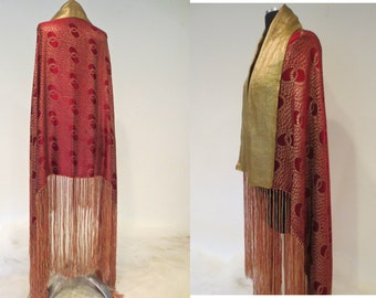 RESERVED for JOSIE on Layaway*** Gold Lamé Art Deco 1920's Gold and Ruby Rectangular Shawl with Fringe Flapper Gatsby