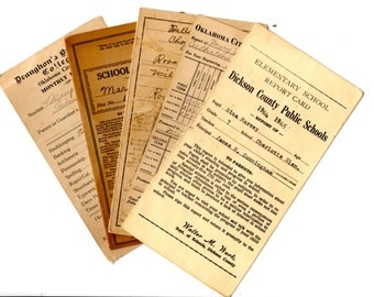 Vintage Digital Ephemera Collection 1910's -1960's School Report Cards Instant Download Collage