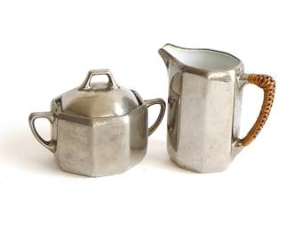 vintage milk and sugar set, silver and porcelain