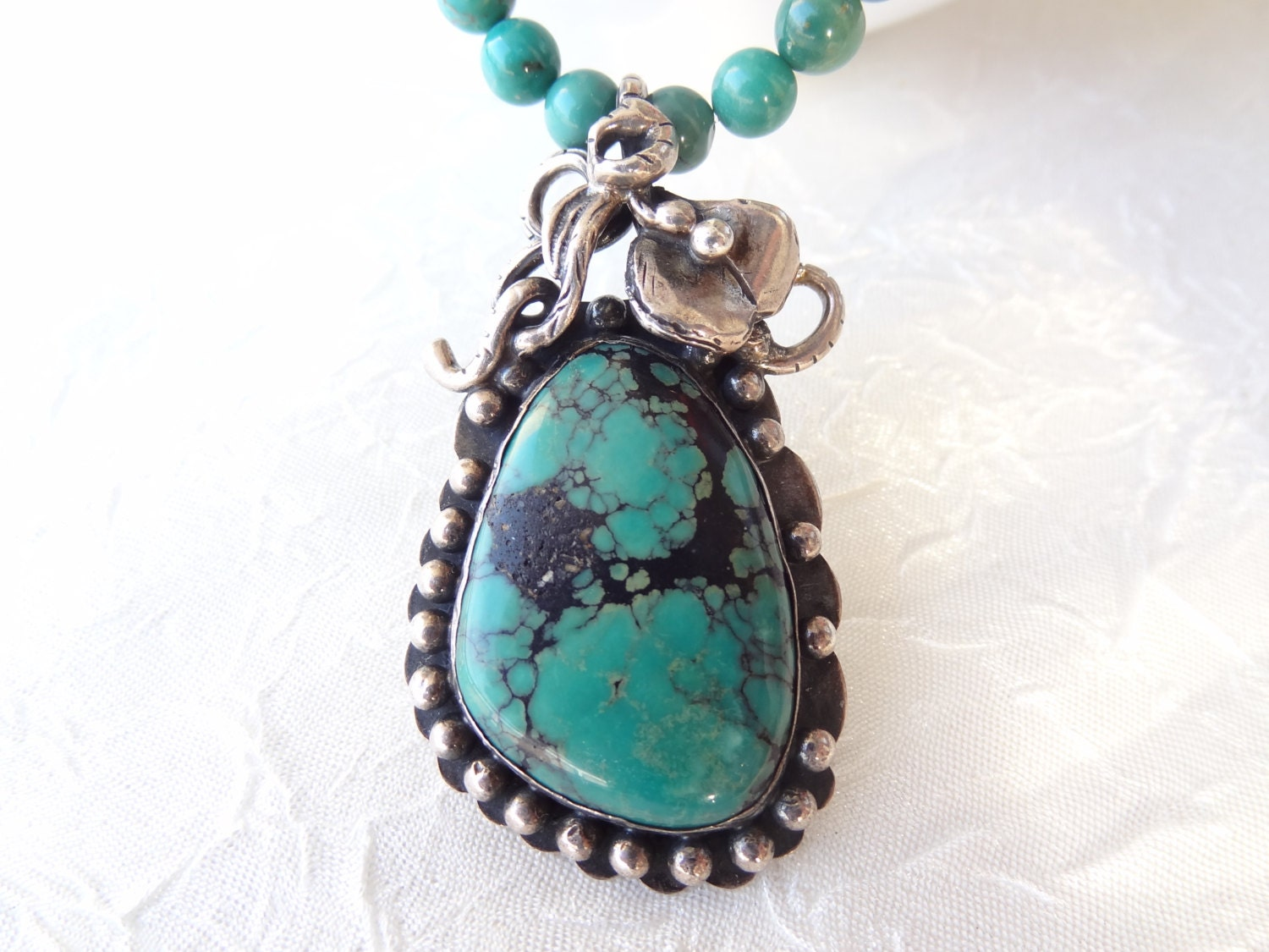 green turquoise necklace 925 sterling silver necklace
