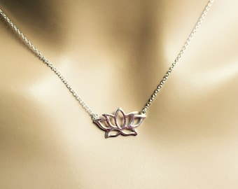 All Sterling Lotus Flower Necklace, nature inspired jewelry, minimalist jewelry, sterling jewelry,