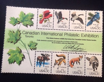 CAPEX US Wildlife 13 Cent Mini-Sheet : Vintage 1978 Philatelic Animal Stamps Usable as Postage// Perfect for Framing or DIY art or Jewelry