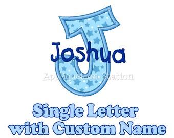 Custom Name Initial Monogram Hand-written Font Letter Applique Machine Embroidery Design Download Blue Boy Handwriting