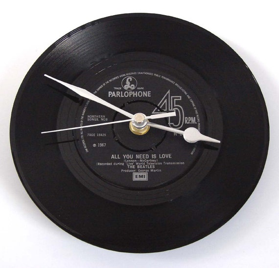 """The BEATLES Vinyl Record CLOCK from original recycled 7"""" record. """"All You Need Is Love"""". Other Beatles tracks also available...."""