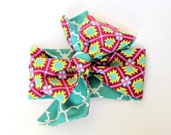 Baby Head Wrap - Big Bow - Top Knot - Turban - Aztec- Teal - Reversible Headband - Hair Scarf