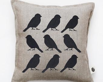 Bird pillow cover - black birds cushion cover -  bird print throw pillow - cushion cover for shabby chic home decor  0136
