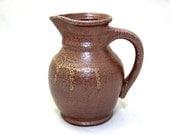 Vintage Brown Stoneware Salt Glaze Vase Pitcher / Mid Century Brown Pottery Pitcher