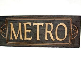 Vintage METRO SIGN • 70s 80s Subway Retro Sign