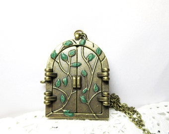 sale   Fairy Door Necklace  - Antique Bronze fairy door jewelry-  fairy green door