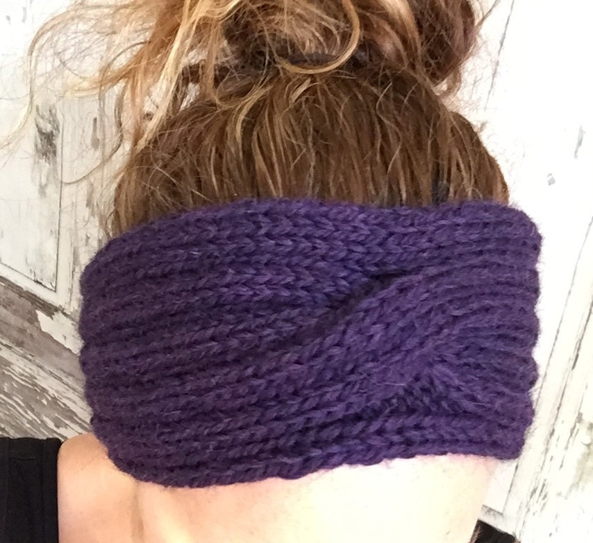 Knitting Pattern Ribbed Headband : KNITTING PATTERN Rib and Cable Headband Ear Warmer Baby to