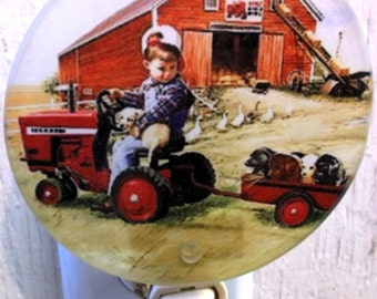 boy night light, tractor night light, farm night light, pretty night light, decorative light, bathroom light, kitchen light,