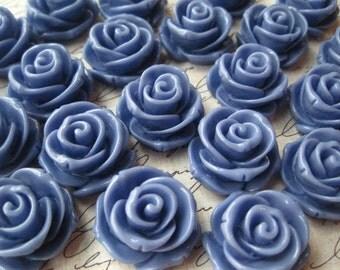 Resin Roses / 6 pcs 24mm Cornflower Blue Resin Cabochon Flowers / Large Rose Flower Cabochon