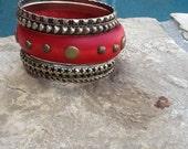 Wood n Metal Bangle Set! Red Wood Bracelets! Set of 5 for Multi Layering! Great Gift!