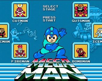 Video Game Art - Mega Man - Digital Art Print - Nintendo Tribute