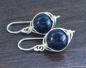 Wire Wrapped Blue Goldstone Earrings, Blue Goldstone Dangle Earrings