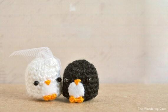 Amigurumi Penguin Cell Phone Strap : Amigurumi Penguin wedding gift bride and groom cute