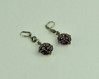 Amethyst and bronze Czech fire polished glass beads earrings.