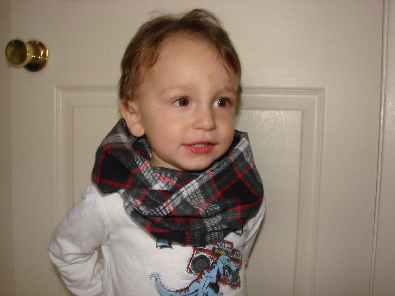 Baby Boy Plaid Infinity Scarf Grey Black Red Flannel Infinity