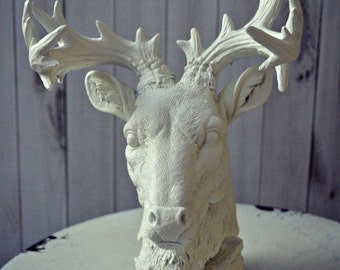 deer art bust home decor antlers faux deer taxidermy buck rack antlers cottage decor cabin hunter-jewelry holder-accent piece-deer lover