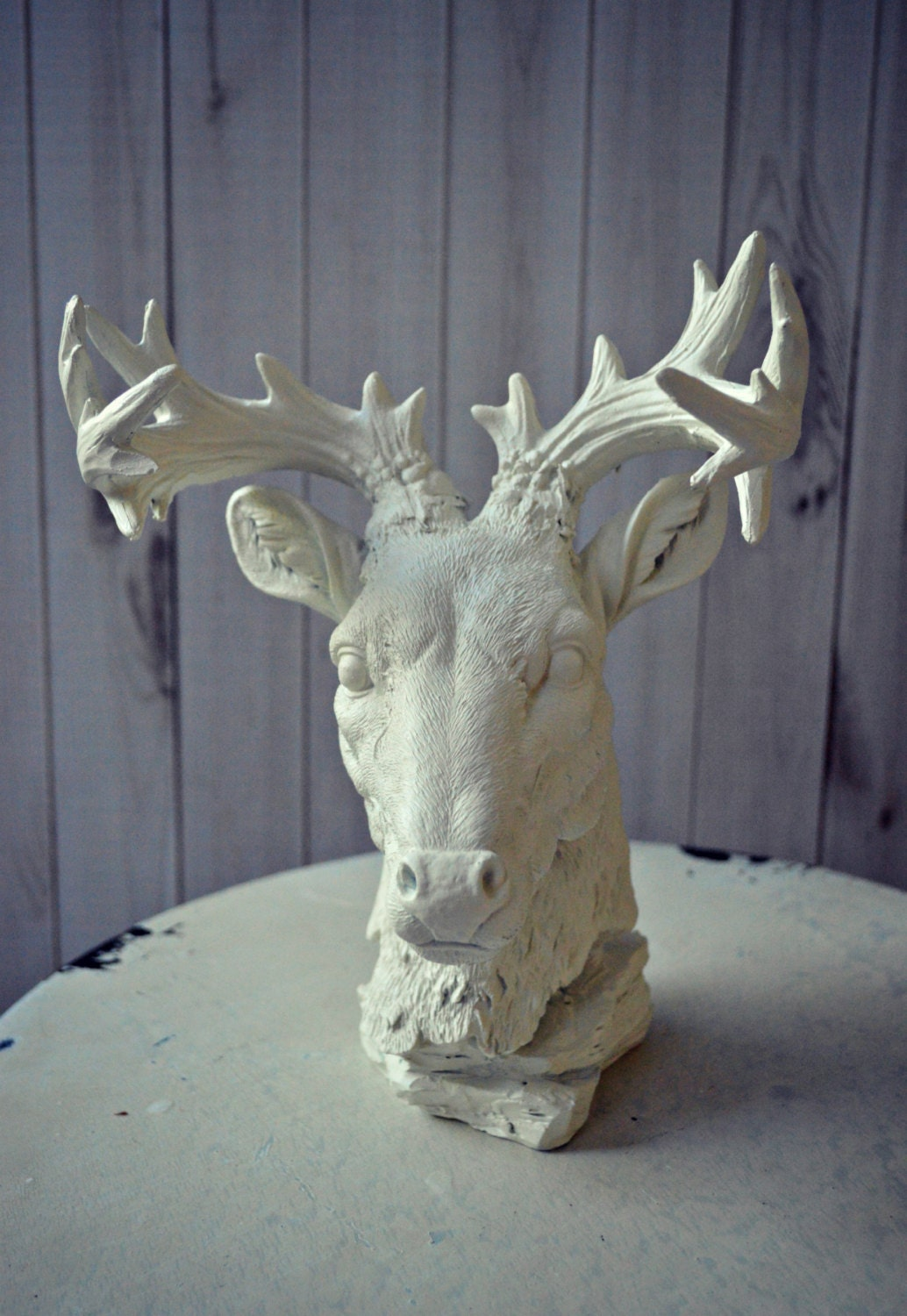 Deer art bust home decor antlers faux deer taxidermy buck rack for Antler decorations for home