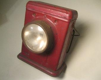 1940's Red Portable Lantern / Delta Electric Lantern