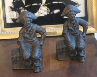 sale!!  Cast Iron Pirate Bookends / Hubley Bookends?