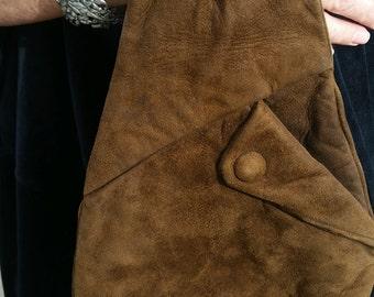 Brown Suede Leather Wrist Purse, Vintage Antique Boho, Hippie Unique Handbag by Wilson's House of Suede, Beverly Hills, CA U.S.A.