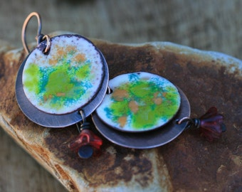 SALE Rustic Copper Enamel * Spring Celebration * earrings - bohemian colorful, round discs, simple, festive, garden, rustic, light weight