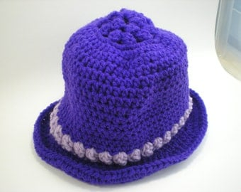Purple and Lavender Crocheted Hat With Brim