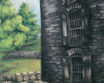 Woodford Reserve Distillery Chalk Pastel Print on coated bond paper