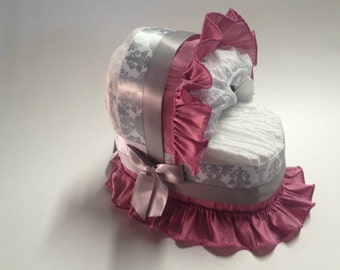 Silver Damask and Pink Baby Shower Diaper Bassinet