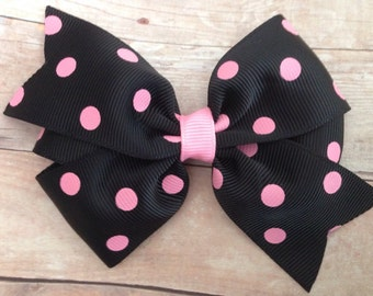 Black & pink polka dot hair bow - 4 inch bow, pinwheel bow, polka dot bows, girls hair bows, toddler bows, girls bows, black bows, hair clip