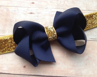 Navy blue & gold baby headband - gold baby headband, gold headband, navy blue bow headband, baby headband, baby bow, baby headbands