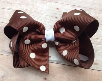 Brown polka dot hair bow- brown bow, fall hair bow, 4 inch bows, boutique bows, girls hair bows, toddler bows, girls bows, brown bows