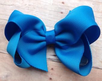 4 inch Aegean blue hair bow - 4 inch blue bow, boutique bows, girls hair bows, blue bows, toddler bows, girls bows, 4 inch bows