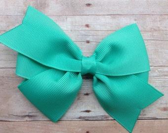 Tropical green hair bow - caribbean green bow, 4 inch hair bow, pinwheel bows, girls hair bows, girls bows, toddler bows, hair clips