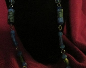Vintage Marcella bead necklace blue moon beam beads light blue green