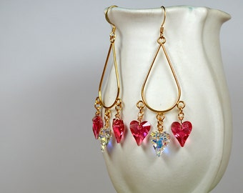 Pink crystal heart earrings Gold teardrop hoop earrings Long chandelier earrings Swarovski crystal dangle earrings Valentines Day jewelry
