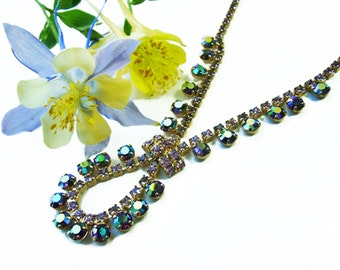 1980s Vintage Pierre Cardin Aurora Borealis Austrian Crystal Pendant Necklace, 14K Gold Plated Metal